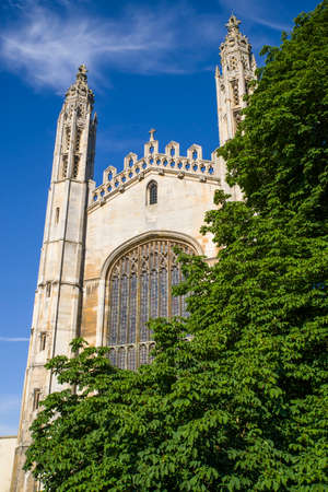 A view of the magnificent facade of Kings College Chapel in Cambridge, UK.