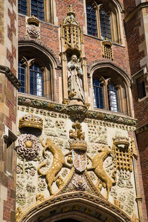 gatehouse: The impressively sculptured gatehouse at St John's College in Cambridge, UK. Editorial