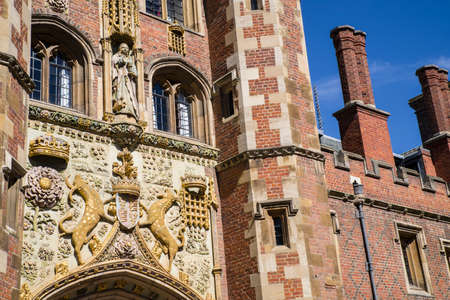 gatehouse: The decorated facade of the gatehouse at St John's College in Cambridge, UK. Editorial