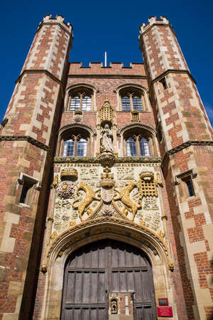 john henry: The impressive gatehouse at St John's College in Cambridge, UK.