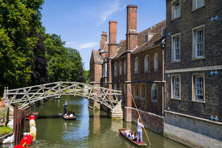 A view of the historic Mathematical Bridge over the River Cam in Cambridge, UK.