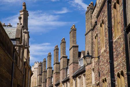 tall chimney: A row of old brick chimneys located on Trinity Street in Cambridge, UK.