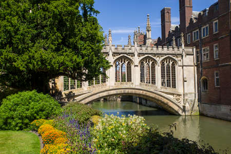 A view of the beautiful Bridge of Sighs in Cambridge, UK.