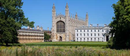 Een panoramisch uitzicht op het historische King's College in Cambridge, Verenigd Koninkrijk. Redactioneel