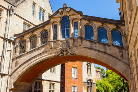A view of the Bridge of Sighs (also known as Hertford Bridge) in the city of Oxford, England.