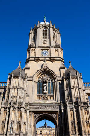 A view of the historic Tom Tower at Christ Church College - one of the colleges at Oxford University, England.
