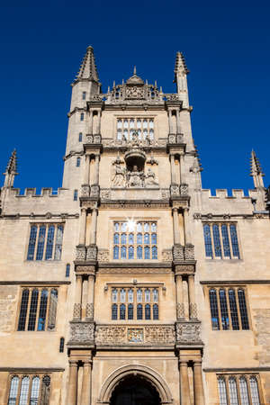 king james: The Tower of the Five Orders housing the Bodleian Library in Oxford, England.  It is one of the oldest libraries in Europe. Stock Photo