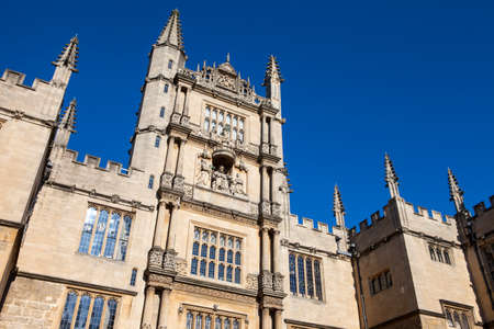 The Tower of the Five Orders housing the Bodleian Library in Oxford, England.  It is one of the oldest libraries in Europe. Stock Photo