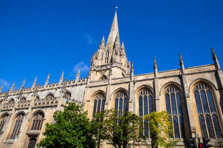 The impressive gothic architecture of the University Church of St. Mary the Virgin in Oxford, England.