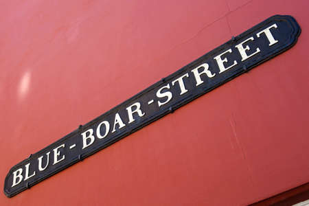 The street sign for the historic Blue Boar Street in the city of Oxford, England. Stock Photo