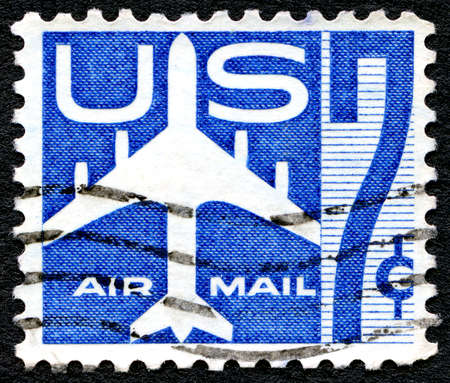 air mail: UNITED STATES - CIRCA 1958: Air mail stamp printed by the United States, shows Silhouette of Jet Airliner, circa 1958. Editorial