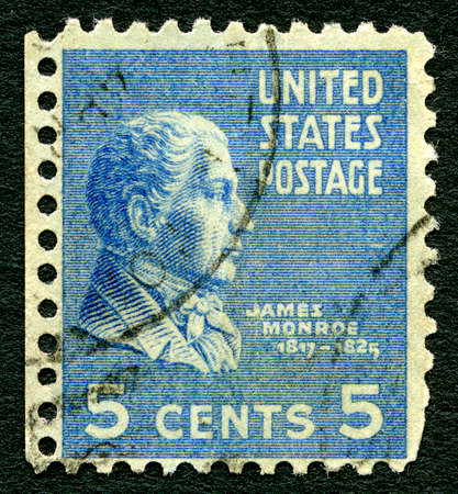 postmarked: UNITED STATES OF AMERICA - 1ST MARCH 2016: A used postage stamp printed in America depicting an image of fifth President of the USA, James Monroe, circa 1937.
