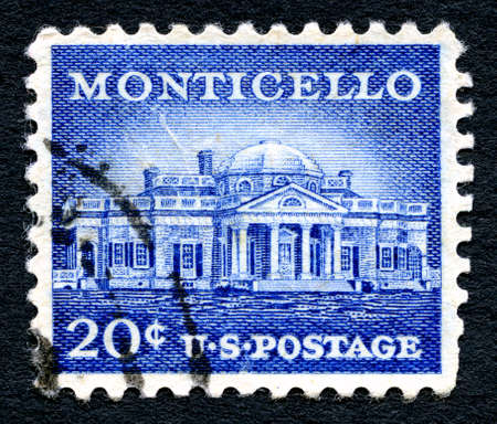 postmarked: UNITED STATES OF AMERICA - 1ST MARCH 2016: A used postage stamp printed in America portraying an illustration of Monticello - the primary plantation of Thomas Jefferson, circa 1956.