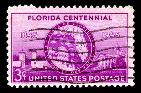 centennial: UNITED STATES OF AMERICA - CIRCA 1945: A used postage stamp from the United States of America, celebrating the Florida Centennial, circa 1945. Editorial