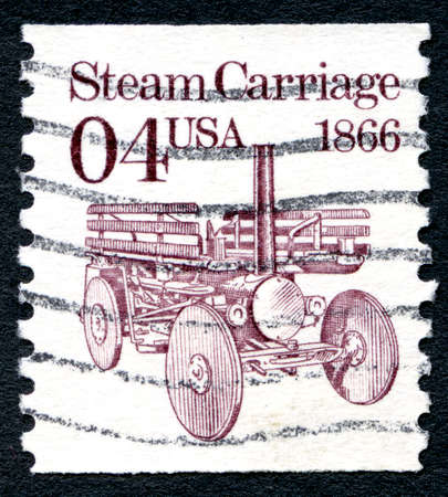 postmarked: UNITED STATES OF AMERICA - CIRCA 1991: A used postage stamp from the United States of America, featuring an illustration of a Steam Carriage, circa 1991. Editorial