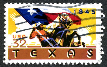 statehood: UNITED STATES OF AMERICA - CIRCA 1995: A used postage stamp from the United States of America, celebrating the 150th Anniversary of Texas statehood, circa 1995.