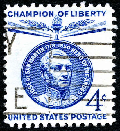 jose de san martin: UNITED STATES OF AMERICA - CIRCA 1960: A used postage stamp from the United States of America, celebrating the memory of Jose De San Martin - a Champion of Liberty, circa 1960.