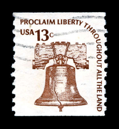 liberty bell: UNITED STATES OF AMERICA - CIRCA 1978: A used postage stamp from the United States of America, portraying an image of the Liberty Bell and a patriotic message, circa 1978. Editorial