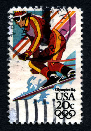 the olympic games: UNITED STATES OF AMERICA - CIRCA 1984: A used postage stamp printed in America, dedicated to the 1984 Olympic Games, circa 1984.
