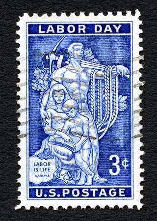 postmarked: UNITED STATES OF AMERICA - CIRCA 1956: A used postage stamp printed in America, celebrating Labor Day, circa 1956.