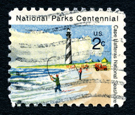 centennial: UNITED STATES OF AMERICA - CIRCA 1972: A used postage stamp printed in America, commemorating the National Parks Centennial celebration, circa 1972.