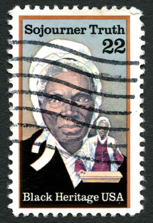 postmarked: UNITED STATES OF AMERICA - CIRCA 1986: A used postage stamp from the United States of America, dedicated to abolitionist Sijourner Truth, circa 1986. Editorial