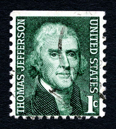 founding: UNITED STATES OF AMERICA - CIRCA 1968: A used postage stamp from the United States of America, dedicated to Founding Father and President Thomas Jefferson, circa 1968. Editorial