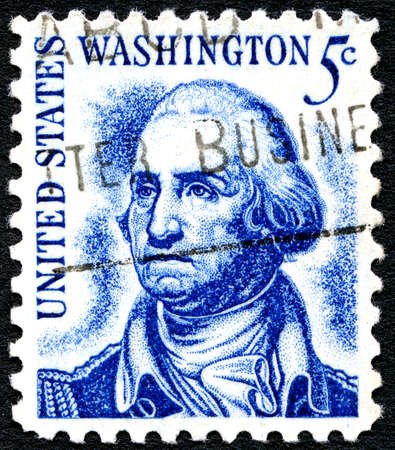 george washington: UNITED STATES OF AMERICA - CIRCA 1966: A used postage stamp from the United States of America, dedicated to former president George Washington, circa 1966. Editorial