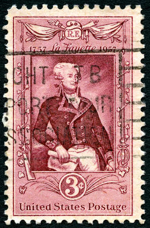 postmarked: UNITED STATES OF AMERICA - CIRCA 1957: A United States Postage Stamp commemorating the 200th Anniversary since the birth of Marquis Lafayette - a famous General during the American Revolutionary War, circa 1957.