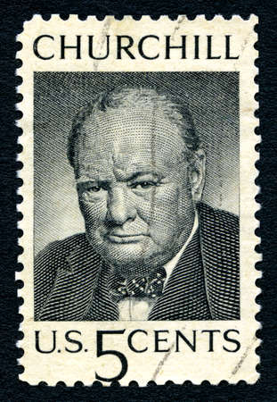 postmarked: UNITED STATES OF AMERICA - CIRCA 1965: a postage stamp printed in USA showing an image of sir Winston Churchill (1874-1965), circa 1965.