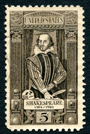 macbeth: UNITED STATES OF AMERICA - CIRCA 1964: A postage stamp portraying an illustration of famous playwright William Shakespeare (1564-1616), circa 1964.
