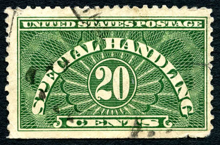 postmarked: UNITED STATES OF AMERICA - CIRCA 20TH CENTURY: A SPECIAL HANDLING postage stamp printed in America, circa 20th Century.