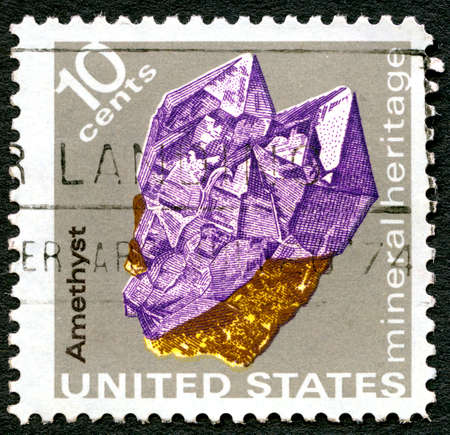 spiritualist: UNITED STATES OF AMERICA - CIRCA 1974: A used postage stamp from the USA portraying an illustration of the precious mineral stone Amethyst, circa 1974.