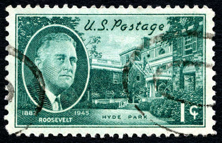 postmarked: UNITED STATES OF AMERICA - CIRCA 1945: A used posted stamp from the USA depicting an illustration of President FD Roosevelt and his Hyde Park home, circa 1945.