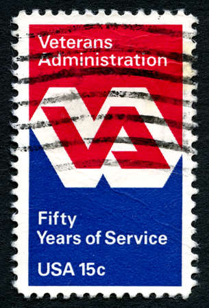 united states postal service: UNITED STATES OF AMERICA - CIRCA 1980: A used postage stamp from the USA to honour the 50th Anniversary of the Veterans Administration, circa 1980. Editorial