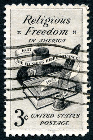 remonstrance: UNITED STATES OF AMERICA - CIRCA 1957: A used postage stamp celebrating Religious Freedom in America, circa 1957.
