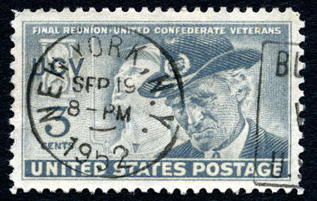 postmarked: UNITED STATES OF AMERICA - CIRCA 1951: A used postage stamp from the USA commemorating the final reunion of United confederate Veterans, circa 1951.