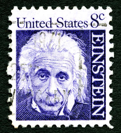 physicist: UNITED STATES OF AMERICA - CIRCA 1965: A used postage stamp depicting a portrait of famous physicist Albert Einstein (1879-1955) printed in America, circa 1965. The stamp commemorates the 10th year since his death.