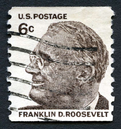 postmarked: UNITED STATES OF AMERICA - CIRCA 1966: A used postage stamp from the USA featuring an illustration of former president of the United States of America Franklin D. Roosevelt, circa 1966. Editorial