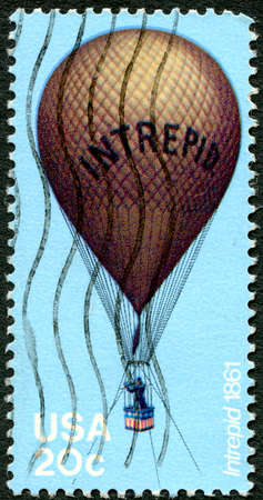 intrepid: UNITED STATES OF AMERICA - CIRCA 1983: A used postage stamp from the USA depicting an illustration of reconnaissance Balloon Intrepid used during the American Civil War, circa 1983.
