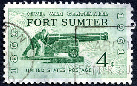 postmarked: UNITED STATES OF AMERICA - CIRCA 1961: A used postage stamp from the USA depicting commemorating the first battle of the American Civil War at Fort Sumter, circa 1961. Editorial