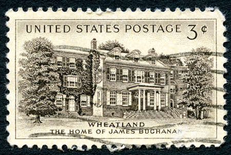 postmarked: UNITED STATES OF AMERICA - CIRCA 1954: A used postage stamp from the USA, depicting an illustration of the home of James Buchanan, the 15th President of the United States, circa 1954.