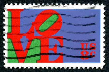 postmarked: UNITED STATES OF AMERICA - CIRCA 1973: A postage used postage stamp from the USA depicting the word LOVE, circa 1973. Editorial