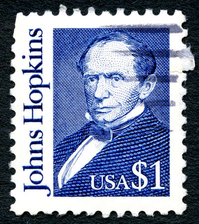 abolitionist: UNITED STATES OF AMERICA - CIRCA 1997: A used postage stamp from the USA, depicting an illustration of American Philanthropist Johns Hopkins, circa 1997.