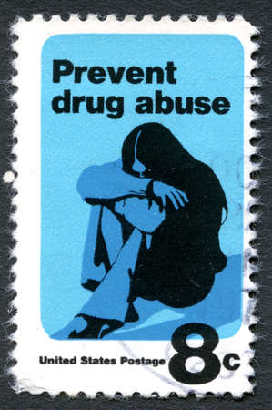 postmarked: UNITED STATES OF AMERICA - CIRCA 1971: A used postage stamp from the USA devoted to preventing drug abuse, circa 1971.