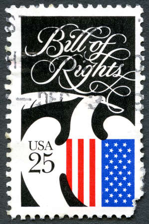 bill of rights: UNITED STATES OF AMERICA - CIRCA 1989: A used postage stamp from the USA commemorating the Bill of Rights and Constitution Bicentennial, circa 1989. Editorial