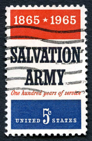 united states postal service: UNITED STATES OF AMERICA - CIRCA 1965: A used postage stamp from the USA celebrating the 100th Anniversary of the Salvation Army, circa 1965.