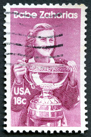 postmarked: UNITED STATES OF AMERICA - CIRCA 1981: A used postage stamp from the USA depicting an illustration of famous American athlete Babe Zaharias, circa 1981.