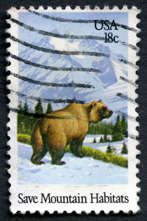 habitats: UNITED STATES OF AMERICA - CIRCA 1981: A used postage stamp from the USA promoting the need to Save Mountain Habitats, circa 1981.