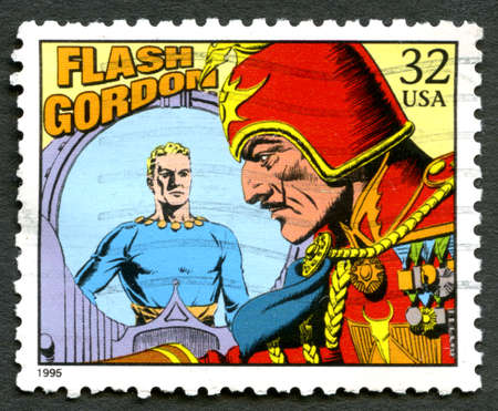 postmarked: UNITED STATES OF AMERICA - CIRCA 1995: A used postage stamp from the USA depicting an illustration from the famous comic story Flash Gordon, circa 1995.